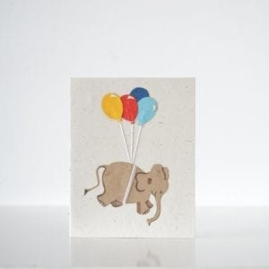 Birthday card with Elephant and balloons
